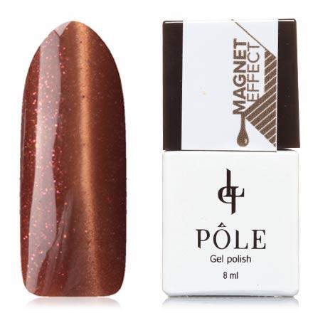 POLE, Гель-лак №23, ТерракотPOLE<br>Магнитный гель-лак (8 мл) бронзово-коричневый, с золотистыми и розовыми микроблестками, плотный.<br><br>Цвет: Коричневый<br>Объем мл: 8.00