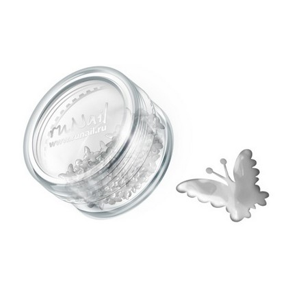 ruNail, дизайн для ногтей: бабочки из ткани 0386 (серебряный)