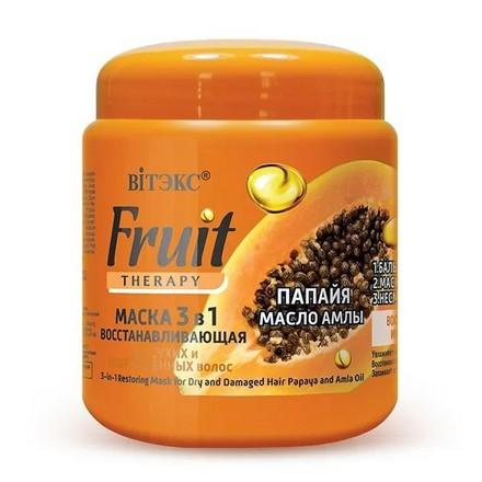 Фото - Витэкс, Маска для волос Fruit Therapy 3 в 1, папайя и масло амлы, 450 мл витэкс fruit therapy маска 3 в 1 восстанавливающая для сухих и поврежденных волос папайя масло амлы 450 мл