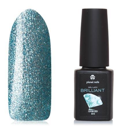 Planet Nails, Гель-лак Brilliant №712Planet Nails<br>Гель-лак (8 мл) бирюзово-голубой, с серебряной фольгой, плотный.<br><br>Цвет: Синий<br>Объем мл: 8.00