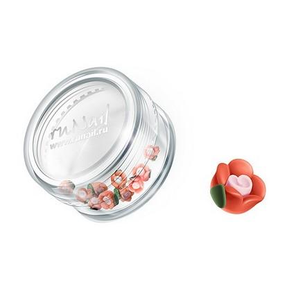 ruNail, дизайн для ногтей: пластиковые цветы 0345 (чайная роза, оранжевый), 10 штук