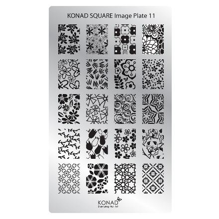 цена на Konad, Пластина для стемпинга Square Image Plate № 11