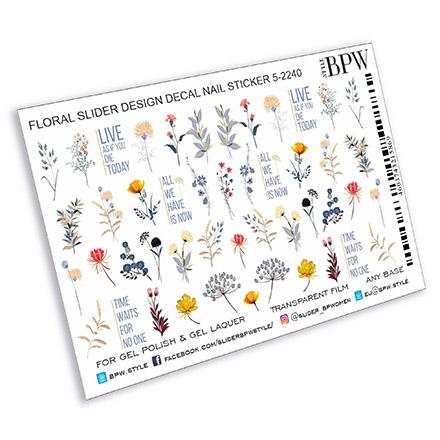 Купить BPW.Style, Слайдер-дизайн «Надписи и полевые цветы», №5-2240