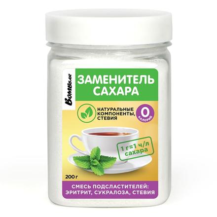 Bombbar, Заменитель сахара «Эритрит, сукралоза, стевия», 200 г