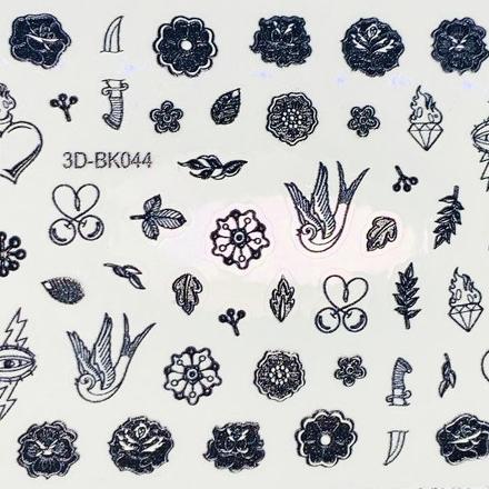 Anna Tkacheva, 3D-стикер №044 «Цветы. Листья», черный фото
