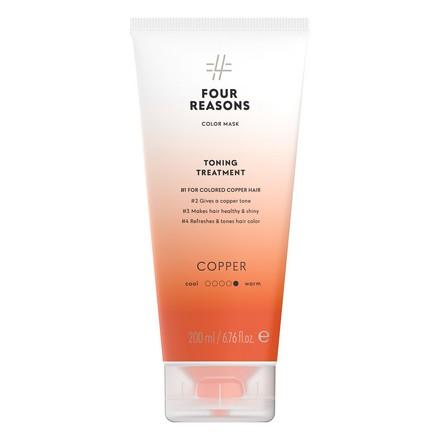 Four Reasons, Маска для волос Toning Treatment Copper, 200 мл four reasons маска для волос toning treatment coffee 200 мл
