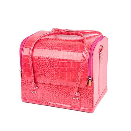 TNL, Кейс маникюриста, розовый, имитация кожи крокодила