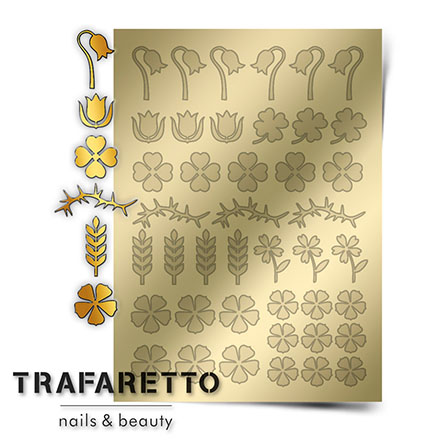 Купить Trafaretto, Металлизированные наклейки FL-01, золото