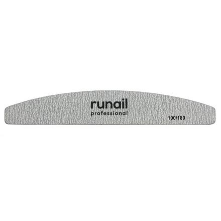 Купить RuNail, Пилка для искусственных ногтей Premium, серая, полукруглая, 100/180