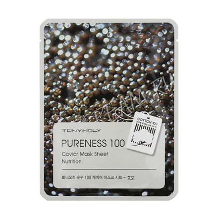 Tony Moly, Маска для лица Pureness 100 Caviar Mask Sheet тканевая маска tony moly pureness 100 shea butter mask sheet объем 21 мл