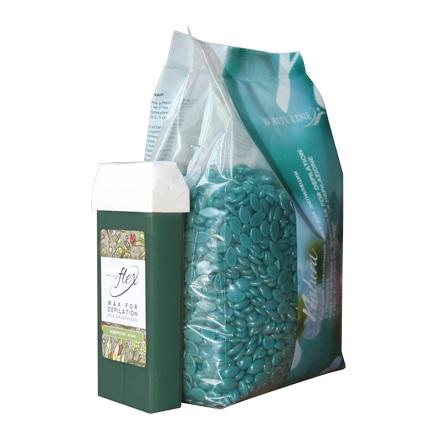 White line, Воск горячий (пленочный), гранулы 1 кг, азулен + картридж Flex в подарок