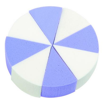 Dewal, Губка для макияжа, треугольная, белая, голубая, 8 шт