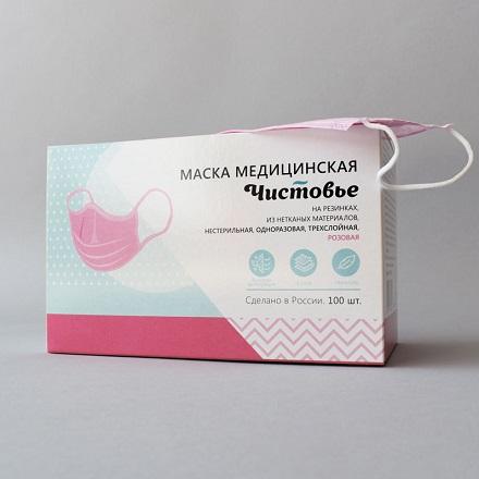 Чистовье, Маска защитная, одноразовая, розовая, 100 шт.  - Купить