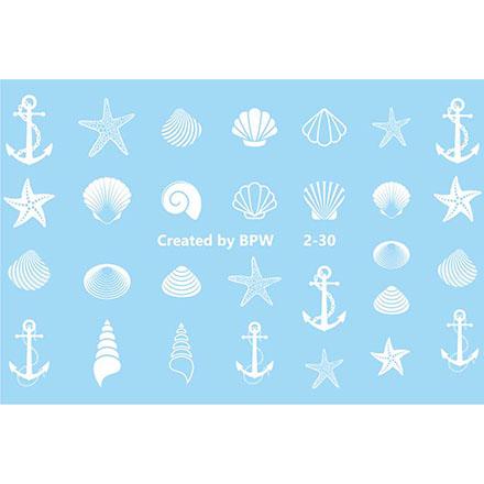 BPW.Style, Слайдер-дизайн «Белые ракушки» №2-30Слайдер-дизайн<br>Слайдер для создания дизайна на ногтях.