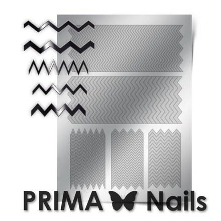 Prima Nails, Металлизированные наклейки GM-06, сереброНаклейки для дизайна<br>Наклейки для необычного дизайнерского маникюра.<br>