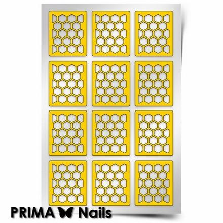 Prima Nails, Трафарет для дизайна ногтей, Принт Пчелиные соты