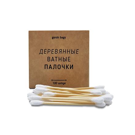 Goroh Bags, Ватные палочки, деревянные, 100 шт. 0 pr на 100