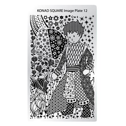 Konad, Пластина для стемпинга Square Image Plate №12, Маленький принцПластины для стемпинга<br>Изображение, с помощью которого вы сможете создать великолепные рисунки на ногтях, которые очень сложно создать вручную.<br>