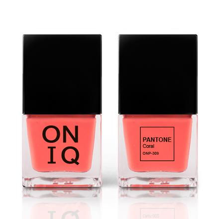 Купить ONIQ, Лак для ногтей Pantone, Coral, Оранжевый