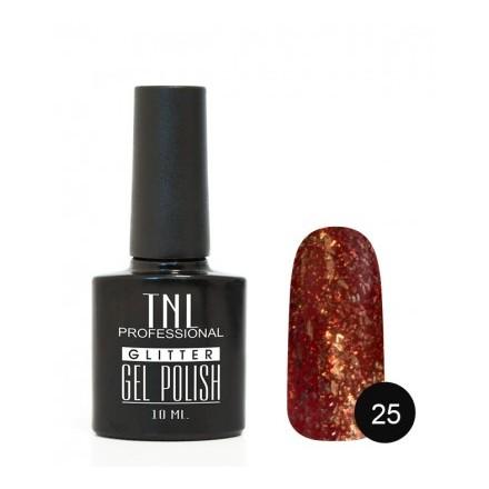 TNL, Гель-лак Glitter №25, Красный апельсин (TNL Professional)