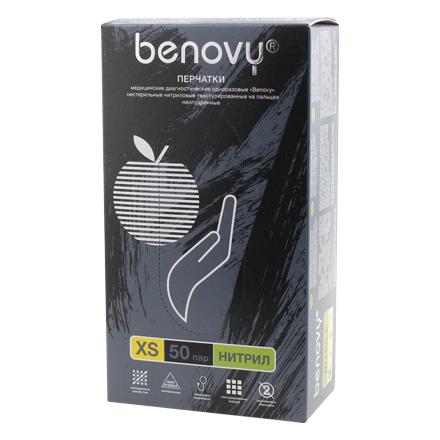 Benovy, Перчатки нитриловые черные, размер XS, 100 шт.  - Купить