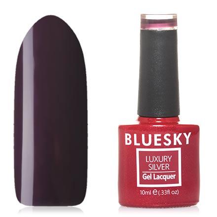 Bluesky, Гель-лак Luxury Silver №579Bluesky Шеллак<br>Гель-лак (10 мл) темно-сливовый, с небольшим количеством перламутра, плотный.