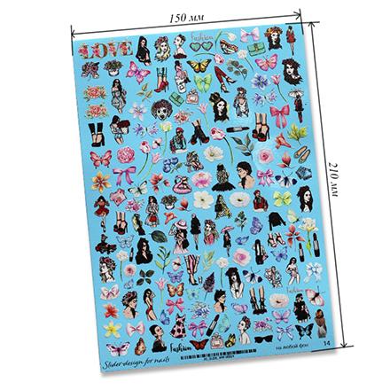 Купить Anna Tkacheva, Cлайдер-дизайн на белый фон №WW14 «Девушки. Цветы»