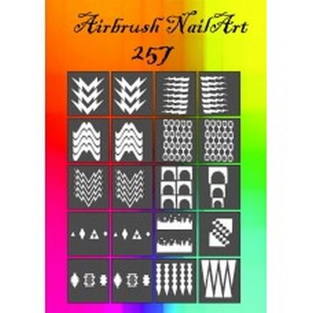 Трафареты для аэрографии №257Трафареты для маникюра<br>Набор клеевых трафаретов для аэрографии на ногтях.<br>