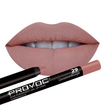 Provoc, Гелевая подводка-карандаш для губ №29, Cinnamon/Sugar, цвет бежево-розовый