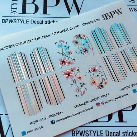 BPW.Style, Слайдер-дизайн «Цветы и полоски» №2-196, серебро голография
