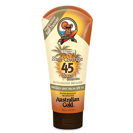 Australian Gold, Крем Premium Coverage SPF 45 Sheer Faces w/bronzer, 88 мл крем для загара