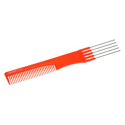 Купить Dewal, Расческа с металлическими зубцами, оранжевая, 19 см