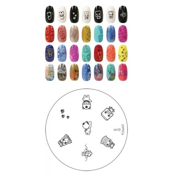 Konad, диск для стемпинга М10Диски для стемпинга<br>7 видов изображений, с помощью которых вы сможете создать великолепные рисунки на ногтях, которые очень сложно создать вручную.<br>