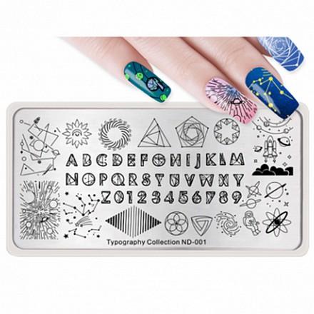 Купить Nicole Diary, Пластина для стемпинга Typography Collection №001