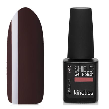 Kinetics, Гель-лак Shield №410, Alluring brownKinetics<br>Гель-лак (11 мл) темно-коричневый, без перламутра и блесток, плотный.