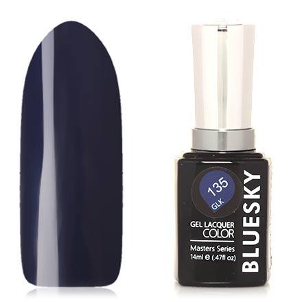 Bluesky, Гель-лак Masters Series №135Bluesky Шеллак<br>Гель-лак (14 мл) темно-синий, без перламутра и блесток, плотный.