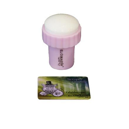 EL Corazon, Односторонний штамп и скрапер №12, РозовыйАксессуары<br>Штамп для стемпинг-дизайна ногтей.<br>