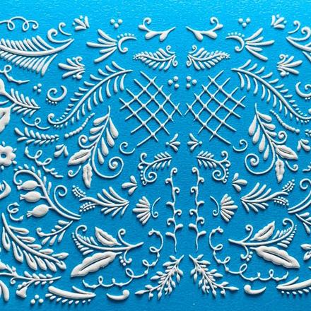AnnaTkacheva,3D-слайдер№111,белый «Веточки. Листья» фото