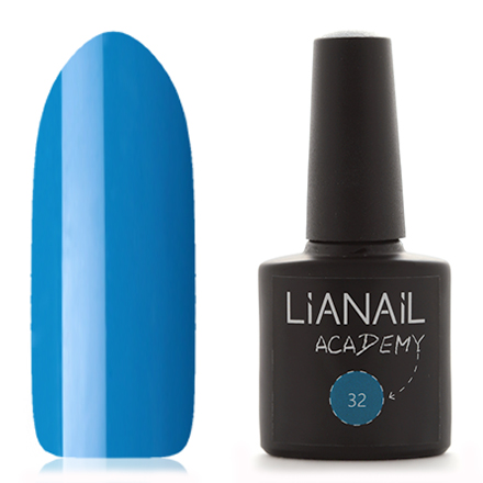 Lianail, Гель-лак Academy 32Lianail<br>Гель-лак (10 мл) лазурный, без блесток и перламутра, плотный.<br><br>Цвет: Синий<br>Объем мл: 10.00