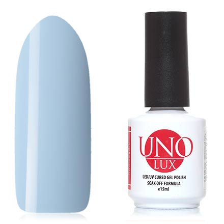 UNO LUX, Гель-лак Незабудка, Forget-Me-NotUNO LUX<br>Гель-лак (15 мл) бледно-голубой, без перламутра и блесток, плотный.