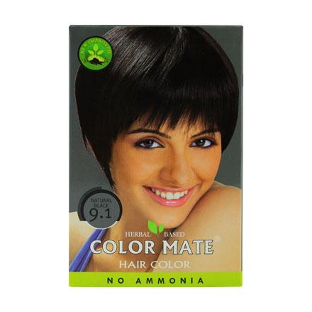 COLOR MATE, Травяная краска для волос 9.1Краска для волос<br>Цвет: натуральный черный. Вес: 75 г.