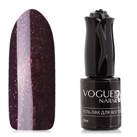 Vogue Nails, Гель-лак Французская мелодияVogue Nails<br>Гель-лак (10 мл) глубокий фиолетовый, с золотисто-рыжими микроблестками, плотный.