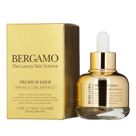Bergamo, Ампульная сыворотка с золотом, 30 млСыворотки для лица<br>Средство для повышения упругости кожи и разглаживания морщин.