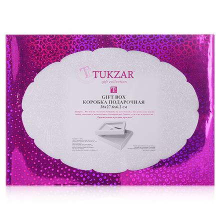 Коробка подарочная складная с прозрачным окном Розовая, 38*27,6*6,2 см