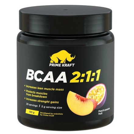 Prime Kraft, Аминокислоты BCAA 2:1:1 «Персик и маракуйя», 150 г prime kraft аминокислоты bcaa 2 1 1 персик и маракуйя 150 г