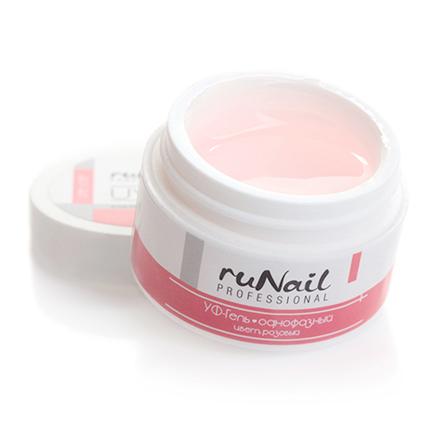 ruNail, УФ-гель однофазный (розовый), 15 гRuNail professional<br>Самовыравнивающийся розово-прозрачный гель средней вязкости.