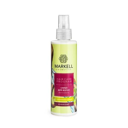 Markell, Спрей для волос Everyday, Anti-static, 200 млСпрей для укладки волос <br>Спрей для волос с антистатическим эффектом придает дополнительный объем и облегчает расчесывание. Для всех типов волос.<br><br>Объем мл: 200.00