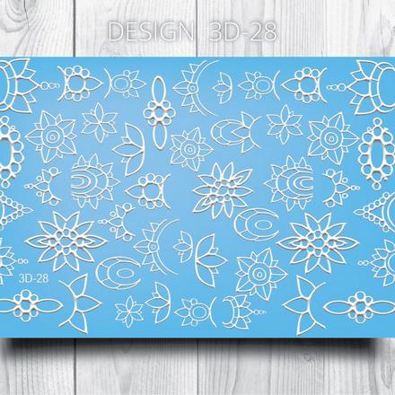 AnnaTkacheva,3D-слайдер№28,белый «Геометрия. Цветы» фото