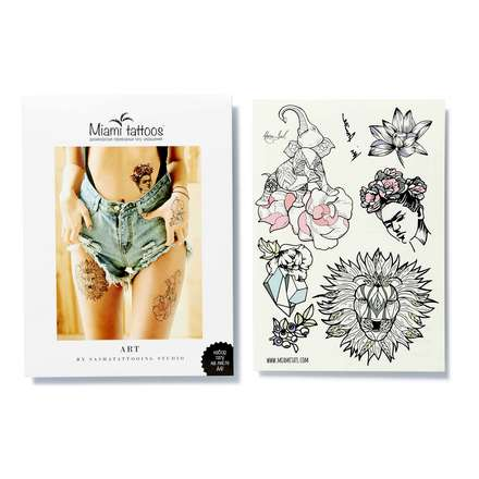 Miami Tattoos, Набор переводных тату Art by Nora Ink flash tattoos sheebani authentic metallic temporary tattoos