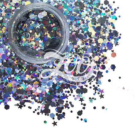 Купить Zoo Nail Art, Камифубуки, микс звездочки-шестигранники, серебро, Разноцветный